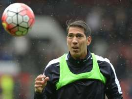 Leicester City striker Leonardo Ulloa during warm-up. AFP