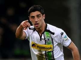 Moenchengladbachs midfielder Lars Stindl celebrates scoring during the German first division football Bundesliga match Borussia Moenchengladbach v Werder Bremen in Moenchengladbach, western Germany, on February 5, 2016