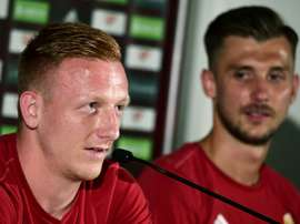 Hungarys midfielder Laszlo Kleinheisler (L), pictured on June 24, 2016, said that his team will one day be similar to the great teams of the past, but would instead like to focus on how they are doing in the present