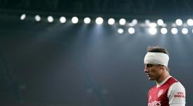 David Luiz se hizo mucho daño en la cabeza. AFP