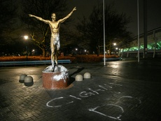 Ibrahimovic's statue has been set alight and vandalised by angry Malmo fans. AFP