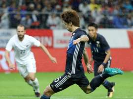 Osako scores in the friendly against New Zealand. AFP