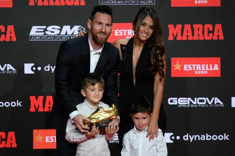 Lionel Messi presented with record sixth Golden Shoe award by his sons