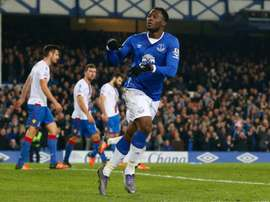 Everton's striker Romelu Lukaku celebrates scoring during an English Premier League football match against Crystal Palace at Goodison Park in Liverpool on December 7, 2015