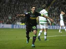 Monchengladbach midfielder Lars Stindl celebrates scoring his teams first goal against Celtic. AFP
