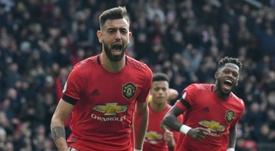 Bruno Fernandes (L) shone in Man United's victory over Watford. AFP