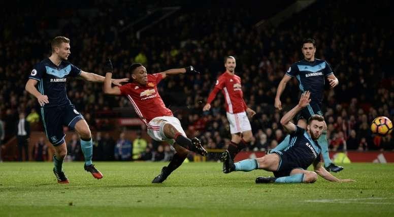 Martial hizo un tanto para el triunfo del United. AFP