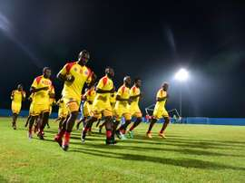Democratic Republic of Congos national football team players take part in a training session in Oyem