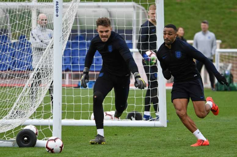 England keeper Butland joins up with Hodgson at Palace. AFP