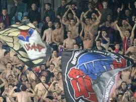 CSKA Moscow fans at the Khimki Arena outside Moscow in 2015