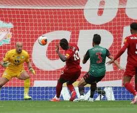 Sadio Mane (C) scored in Liverpool's victory over Aston Villa. AFP