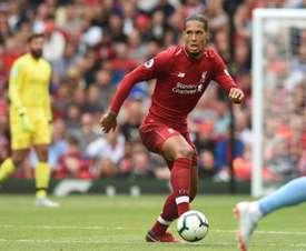 Virgil van Dijk fue el futbolista más veloz del Liverpool-PSG. AFP/Archivo