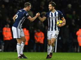 Evans was on target for West Brom against Brighton. AFP