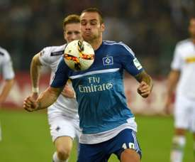 Hamburgs forward Pierre-Michel Lasogga vies for the ball during the German first division Bundesliga football match Borussia Moenchengladbach vs Hamburger SV in Moenchengladbach, western Germany, on September 11, 2015