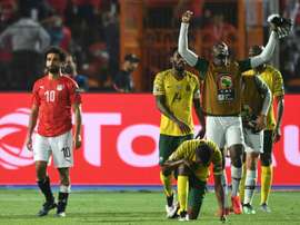 Salah and Egypt were dumped out of the Cup of Nations by South Africa. AFP