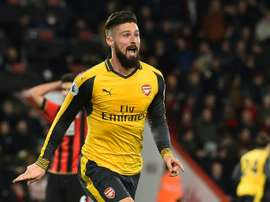L'attaquant français Olivier Giroud célèbre un but contre Bournemouth en Premier League. AFP