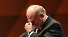 Outgoing Bayern Munich president Uli Hoeness fights back tears. AFP