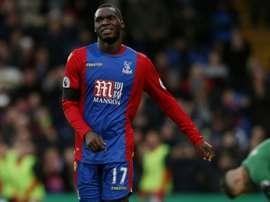 Benteke celebrates scoring against Southampton. AFP