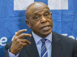 Chairman of the FIFA monitoring committee for Israel and Palestine, Tokyo Sexwale, speaks during a press conference in the Israeli Mediterranean coastal city of Tel Aviv, on October 2, 2015