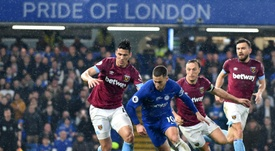 Eden Hazard in action for Chelsea last night against West Ham United. AFP