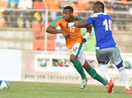 Ivory Coasts Jonathan Kodja (L), pictured on September 3, 2016, scored via a bicycle kick after 35 minutes for the Ivorians, before a sell-out 25,000 crowd in Bouake