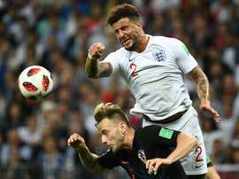 Walker pictured during England's semi-final defeat to Croatia. AFP
