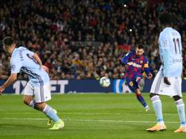 Messi scored two free kick goals and one penalty as Barça beat Celta. AFP