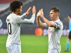 Leroy Sane (L) scored in Bayern's 2-6 win at Salzburg. AFP