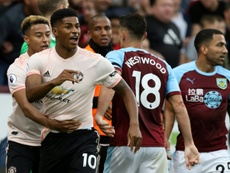 Marcus Rashford saw red after a challenge in United's win at Burnley. AFP