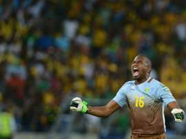 A blunder by goalkeeper and captain Itumeleng Khune, pictured on February 2, 2013, cost South Africa a goal in Nouakchott and set Mauritania on the road to a 3-1 win