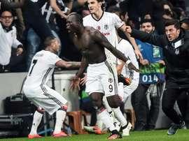 Besiktas Vincent Aboubakar celebrates after scoring a goal on November 23, 2016 in Istanbul