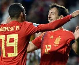 Rodrigo and Alcacer doubles help Spain thrash Faroes.
