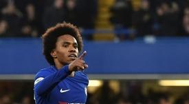 O gol de Willian deu a vitória ao Chelsea. AFP