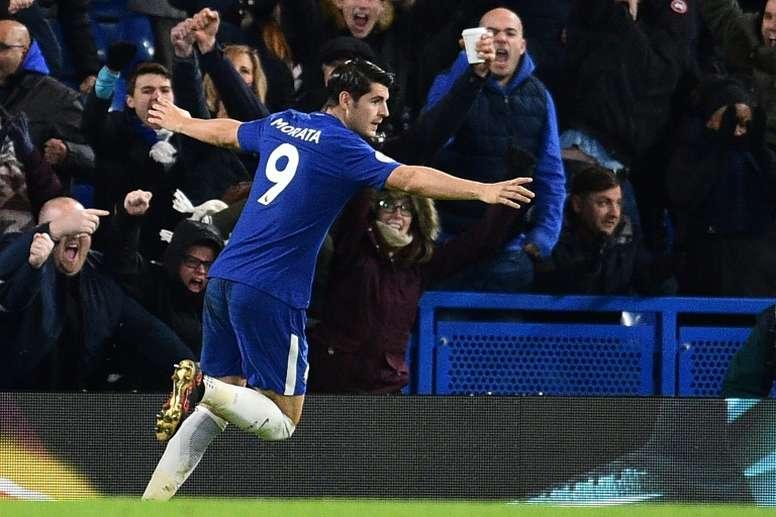 Conte cree que Morata lo tiene todo para hacer grandes cosas en el Chelsea. AFP