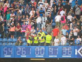 Hamburg's clock was removed after theuir Bundesliga relegation. AFP