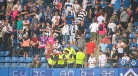 Hamburg's clock was removed after theuir Bundesliga relegation. AFP
