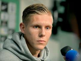 Aron Johannsson attends a press conference on August 5, 2015 in Bremen after his move to Werder Bremen from AZ Alkmaar