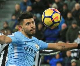 Aguero scored a perfect hat-trick against Newcastle. AFP