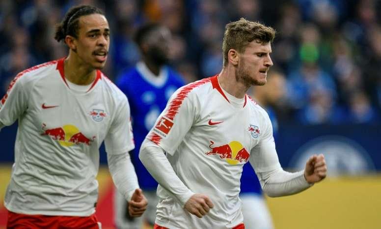 Timo Werner hizo el único gol del Schalke 04-RB Leipzig. AFP