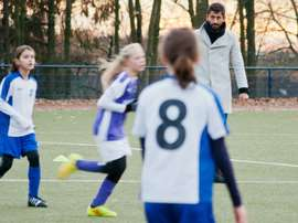 Kerem Demirbay referees on December 5, 2015 in Haan during the D-youth girls football match SSVg 06 Haan against Blau-Weiss Langenberg