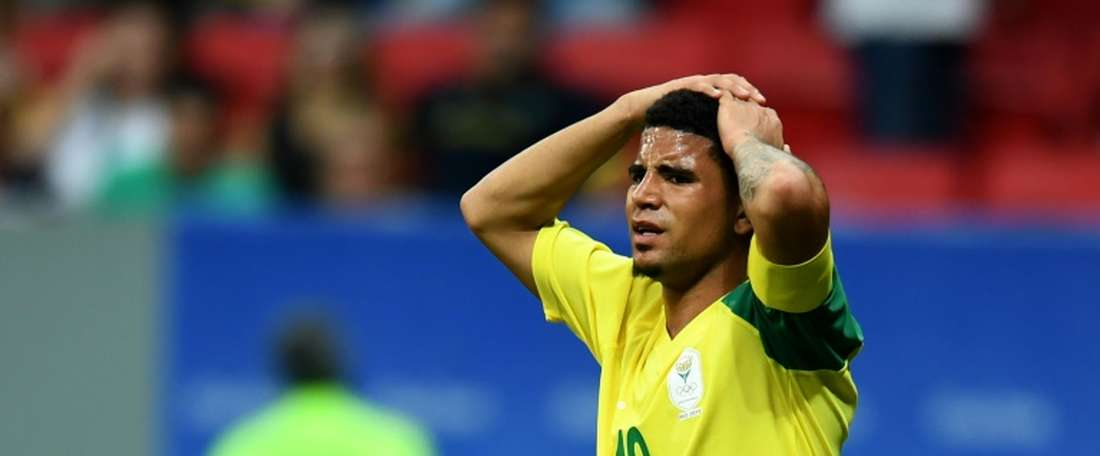 Keagan Dolly reacts during the Rio 2016 Olympic Games First Round Group A mens football match