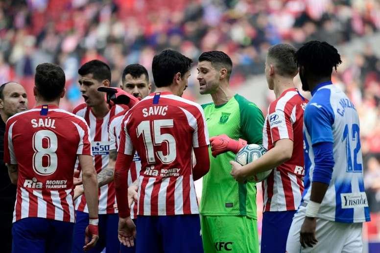 Atletico held by Leganes as defender goes in goal. AFP