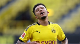 Jadon Sancho has not opened his Bundesliga account this season. AFP