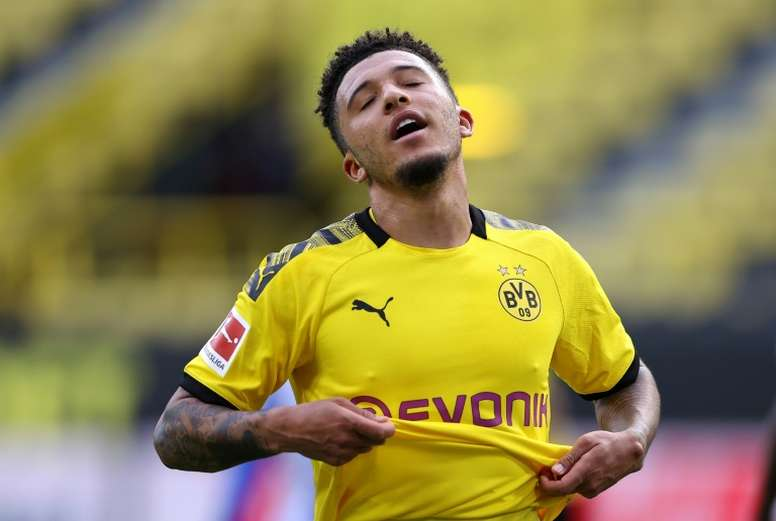 Jadon Sancho has not opened his Bundesliga account this season. AFP