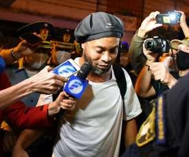 Brazilian retired football player Ronaldinho originally arrived at the Asuncion hotel in April. AFP