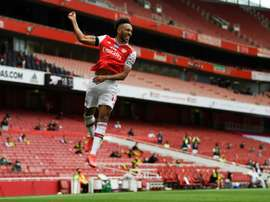 Aubameyang scored twice in Arsenal's comfortable 4-0 win over Norwich. AFP