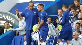 Hazard encanta o treinador. AFP