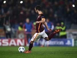 Romas midfielder from Bosnia-Herzegovina Miralem Pjanic kicks and scores a penalty during the UEFA Champions League football match AS Roma vs Bayer Leverkusen on November 4, 2015 at the Olympic stadium in Rome