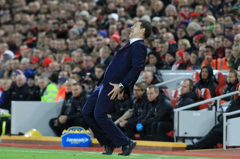 West Ham Uniteds manager Slaven Bilic reacts on the touchline on December 11, 2016