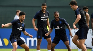 Loftus-Cheek and Sterling together at England camp. AFP
